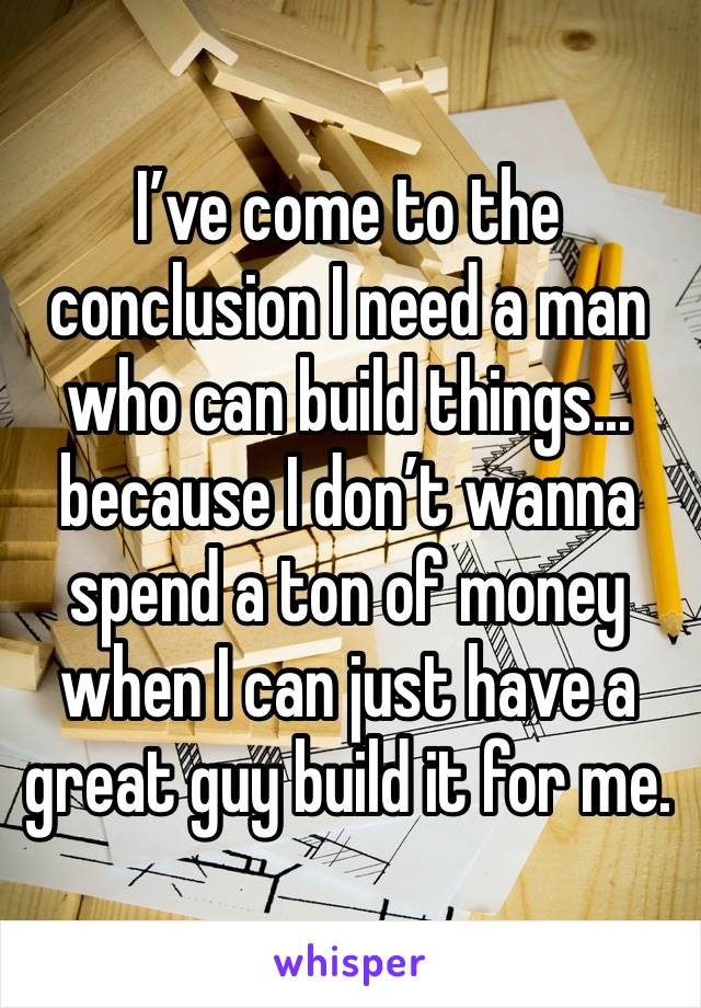 I've come to the conclusion I need a man who can build things... because I don't wanna spend a ton of money when I can just have a great guy build it for me.