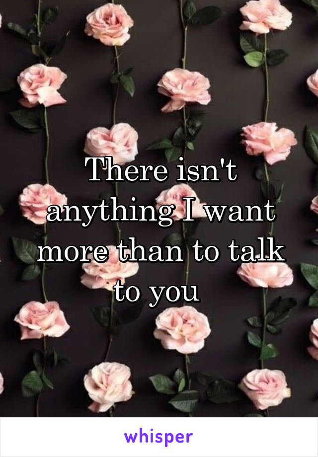 There isn't anything I want more than to talk to you