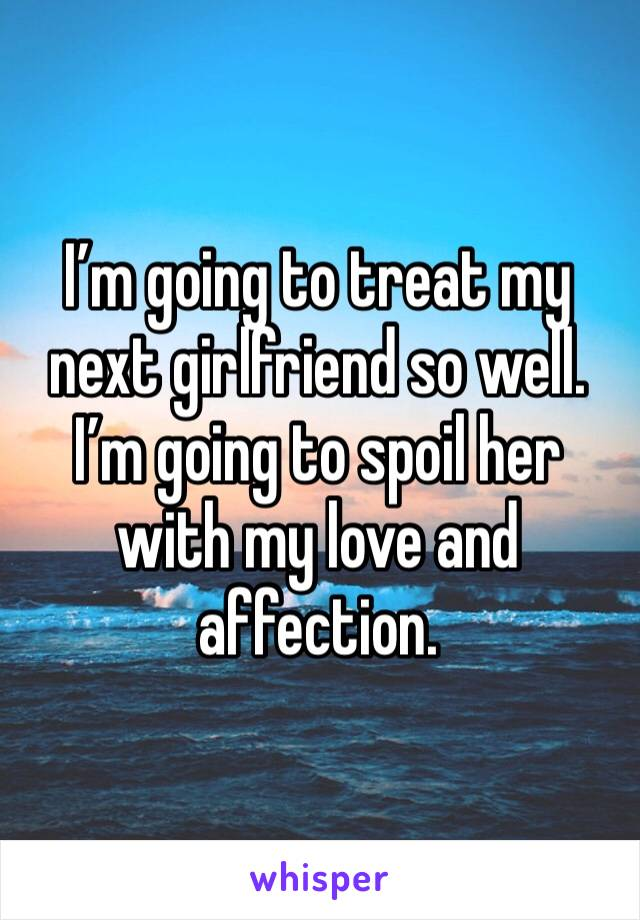 I'm going to treat my next girlfriend so well. I'm going to spoil her with my love and affection.