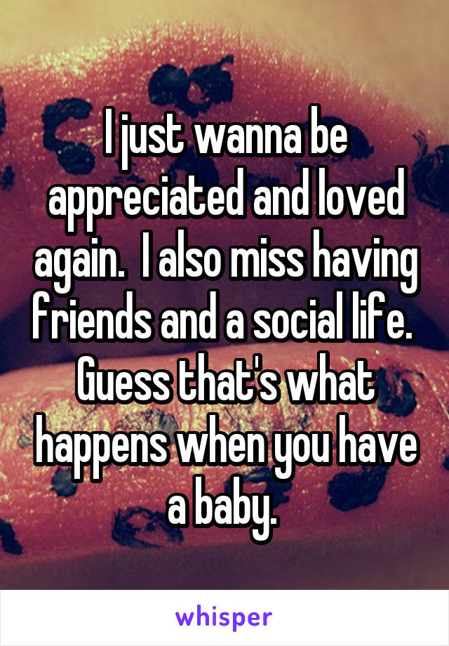 I just wanna be appreciated and loved again.  I also miss having friends and a social life.  Guess that's what happens when you have a baby.