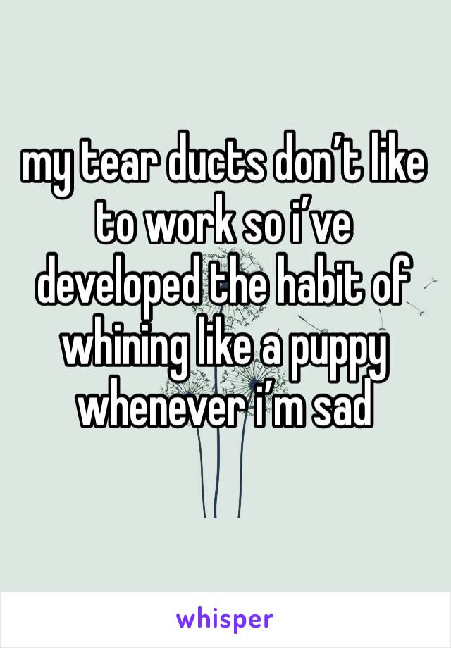 my tear ducts don't like to work so i've developed the habit of whining like a puppy whenever i'm sad