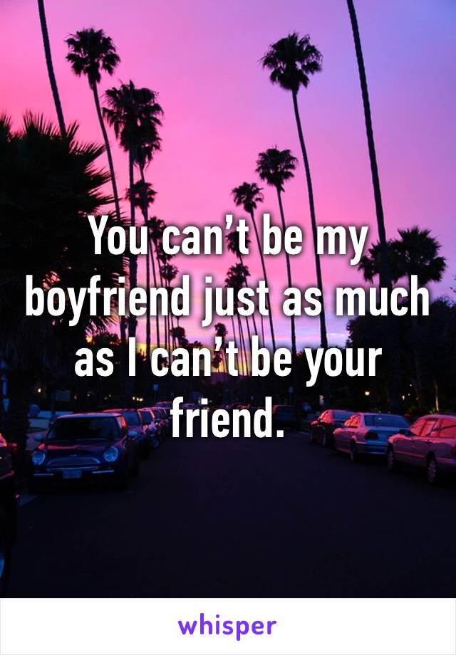 You can't be my boyfriend just as much as I can't be your friend.