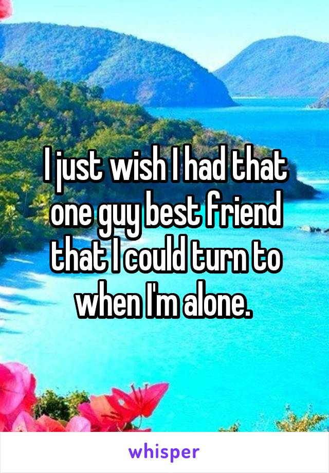 I just wish I had that one guy best friend that I could turn to when I'm alone.