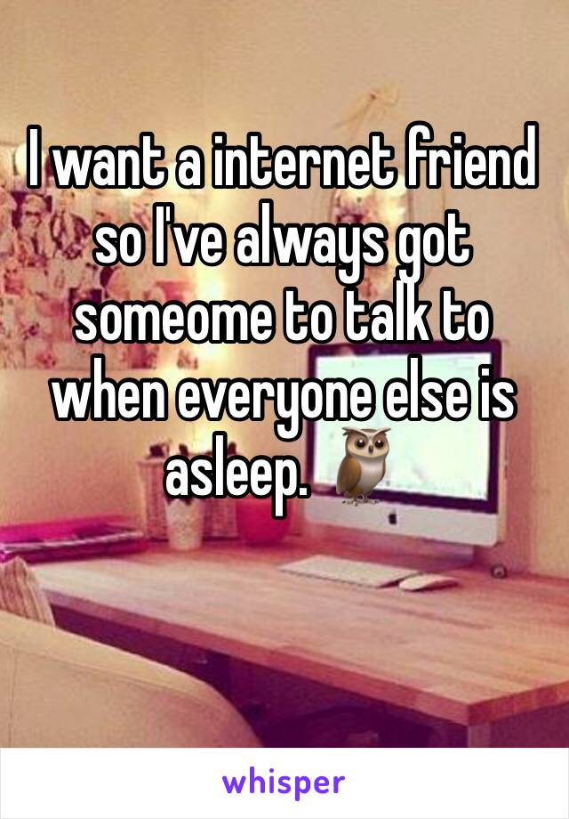 I want a internet friend so I've always got someome to talk to when everyone else is asleep. 🦉