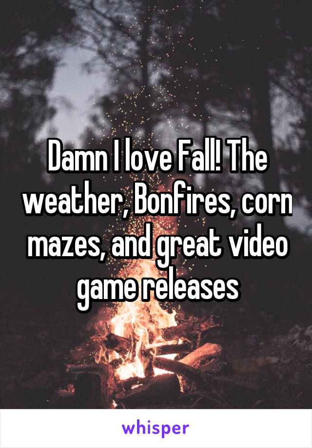 Damn I love Fall! The weather, Bonfires, corn mazes, and great video game releases