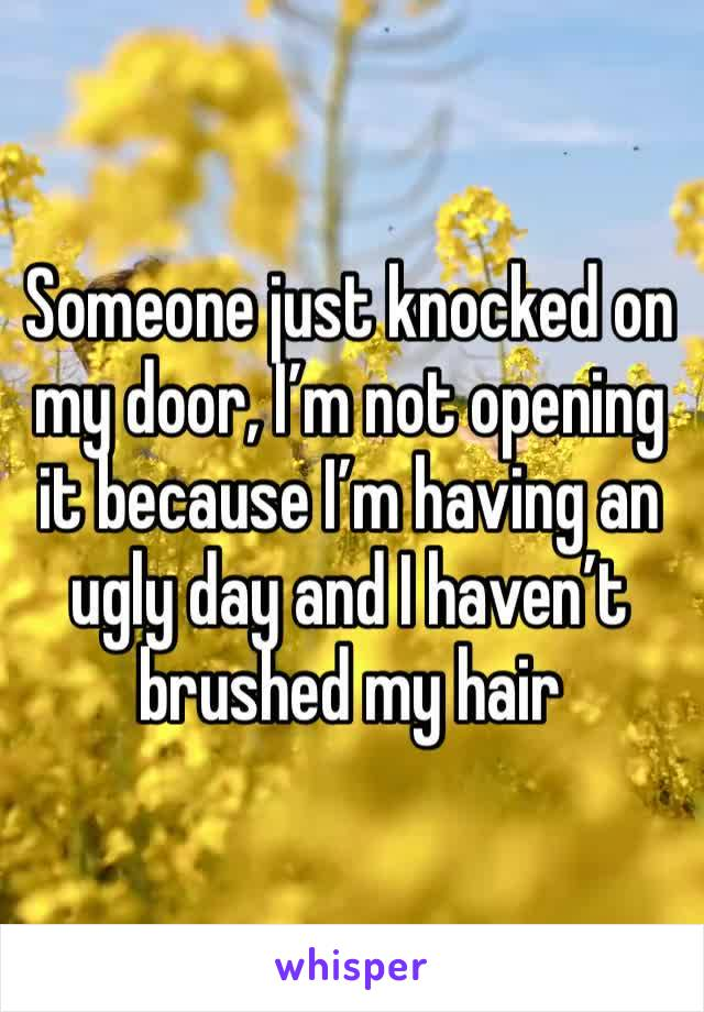 Someone just knocked on my door, I'm not opening it because I'm having an ugly day and I haven't brushed my hair