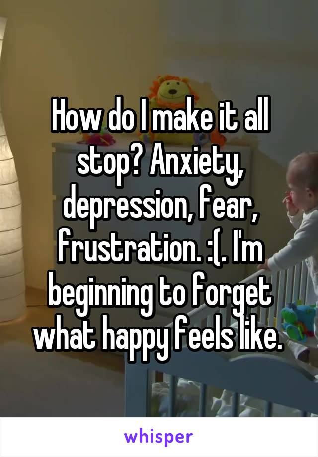 How do I make it all stop? Anxiety, depression, fear, frustration. :(. I'm beginning to forget what happy feels like.