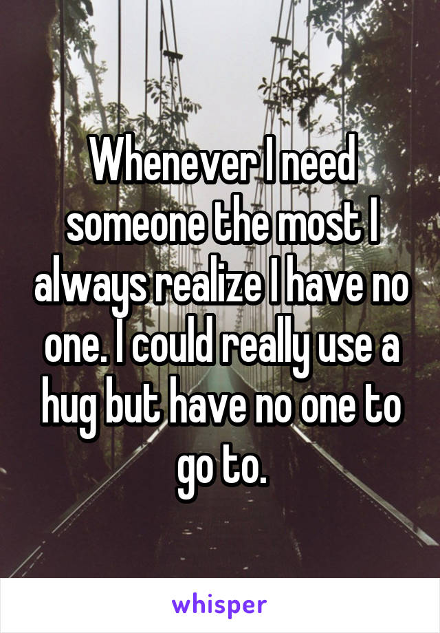 Whenever I need someone the most I always realize I have no one. I could really use a hug but have no one to go to.