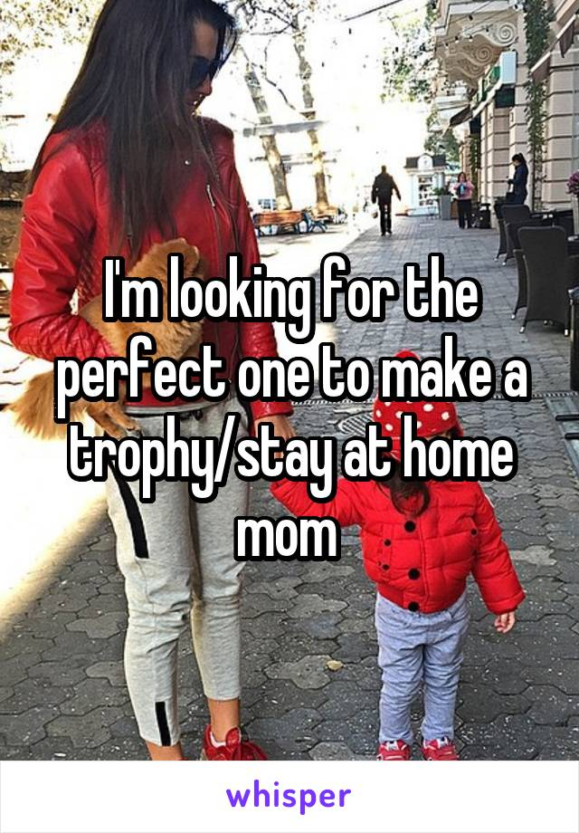 I'm looking for the perfect one to make a trophy/stay at home mom