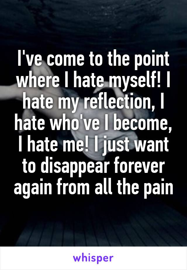 I've come to the point where I hate myself! I hate my reflection, I hate who've I become, I hate me! I just want to disappear forever again from all the pain