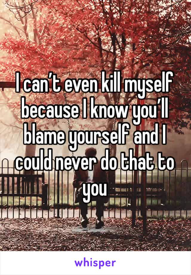 I can't even kill myself because I know you'll blame yourself and I could never do that to you