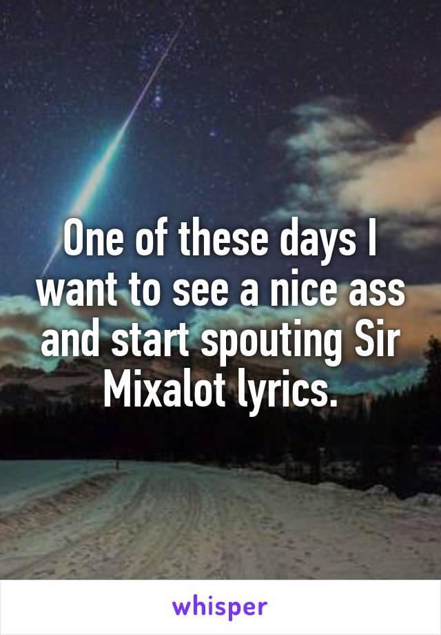 One of these days I want to see a nice ass and start spouting Sir Mixalot lyrics.