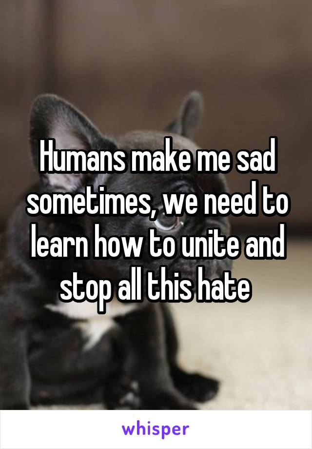 Humans make me sad sometimes, we need to learn how to unite and stop all this hate