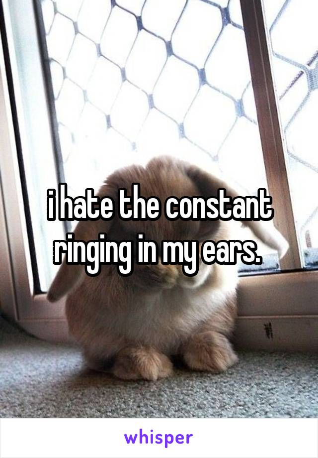 i hate the constant ringing in my ears.