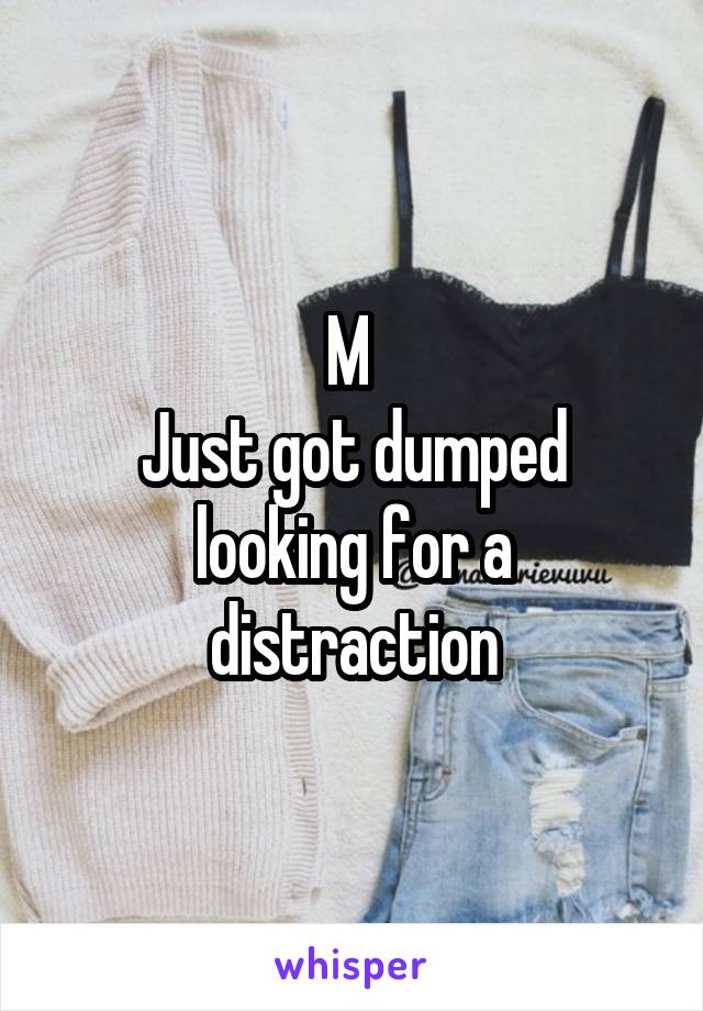 M  Just got dumped looking for a distraction