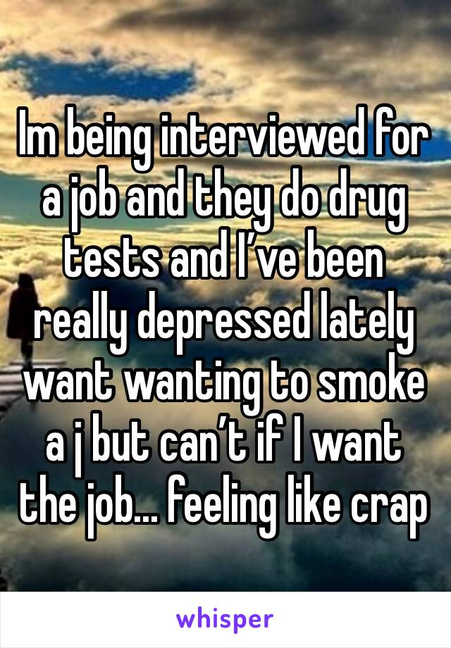 Im being interviewed for a job and they do drug tests and I've been really depressed lately want wanting to smoke a j but can't if I want the job... feeling like crap