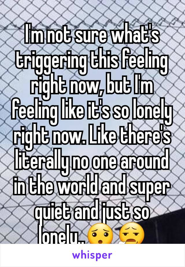 I'm not sure what's triggering this feeling right now, but I'm feeling like it's so lonely right now. Like there's literally no one around in the world and super quiet and just so lonely..😯😧
