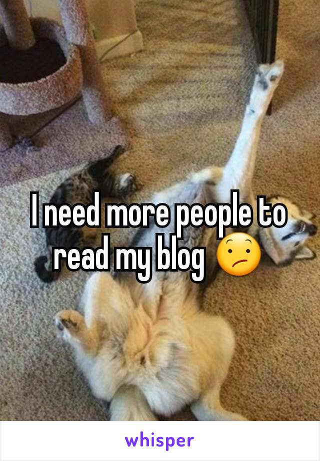 I need more people to read my blog 😕