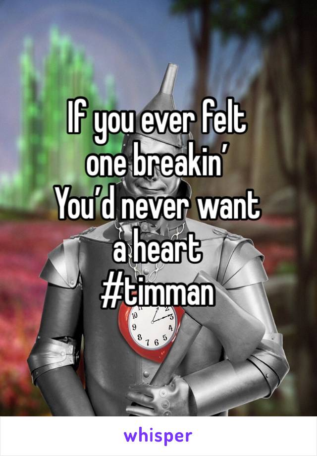 If you ever felt one breakin' You'd never want a heart #timman