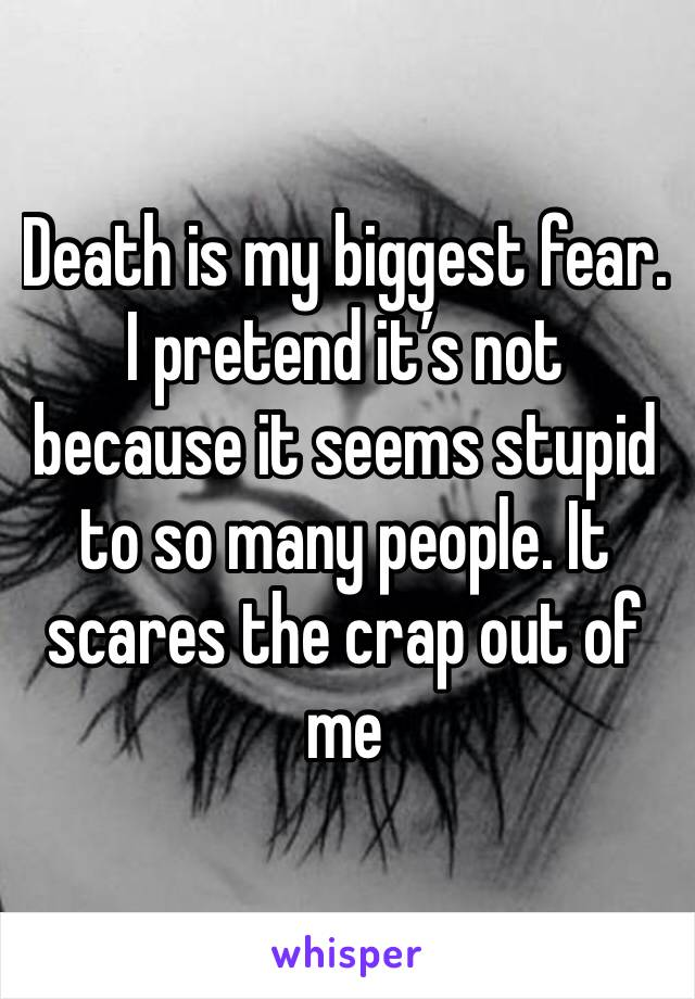 Death is my biggest fear. I pretend it's not because it seems stupid to so many people. It scares the crap out of me
