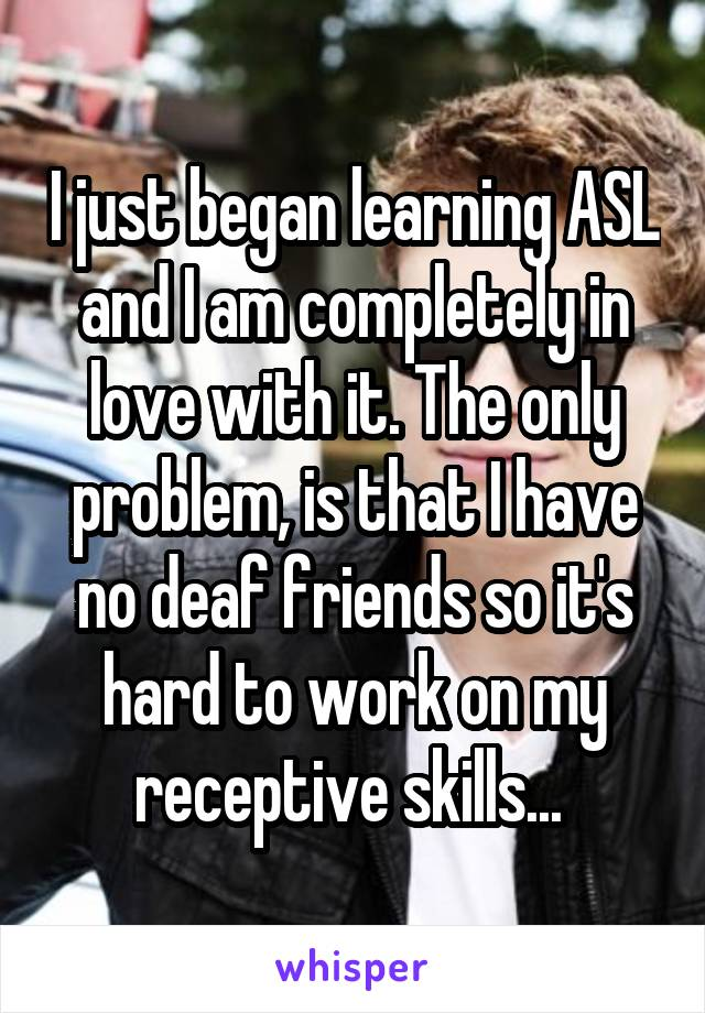 I just began learning ASL and I am completely in love with it. The only problem, is that I have no deaf friends so it's hard to work on my receptive skills...