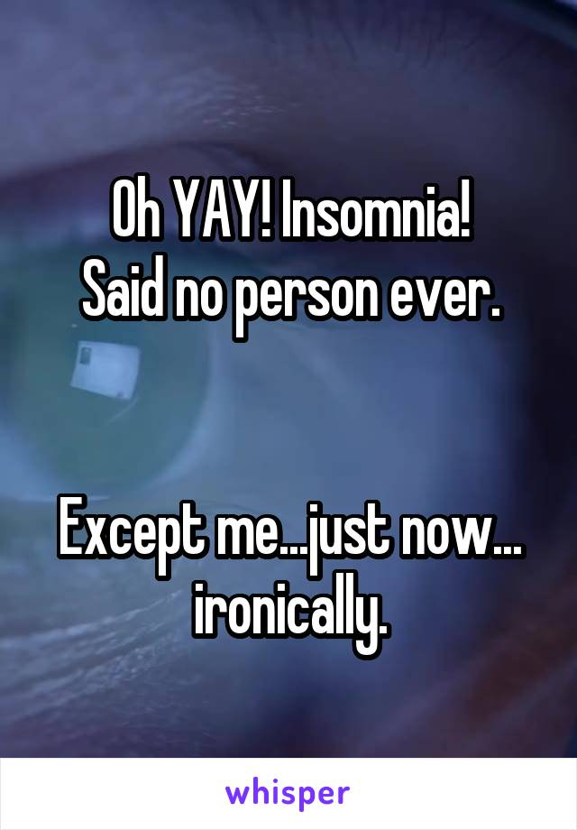 Oh YAY! Insomnia! Said no person ever.   Except me...just now... ironically.