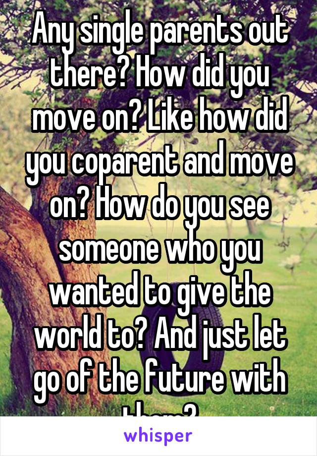 Any single parents out there? How did you move on? Like how did you coparent and move on? How do you see someone who you wanted to give the world to? And just let go of the future with them?