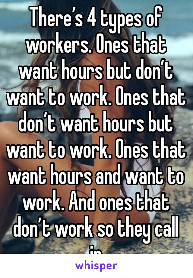 There's 4 types of workers. Ones that want hours but don't want to work. Ones that don't want hours but want to work. Ones that want hours and want to work. And ones that don't work so they call in