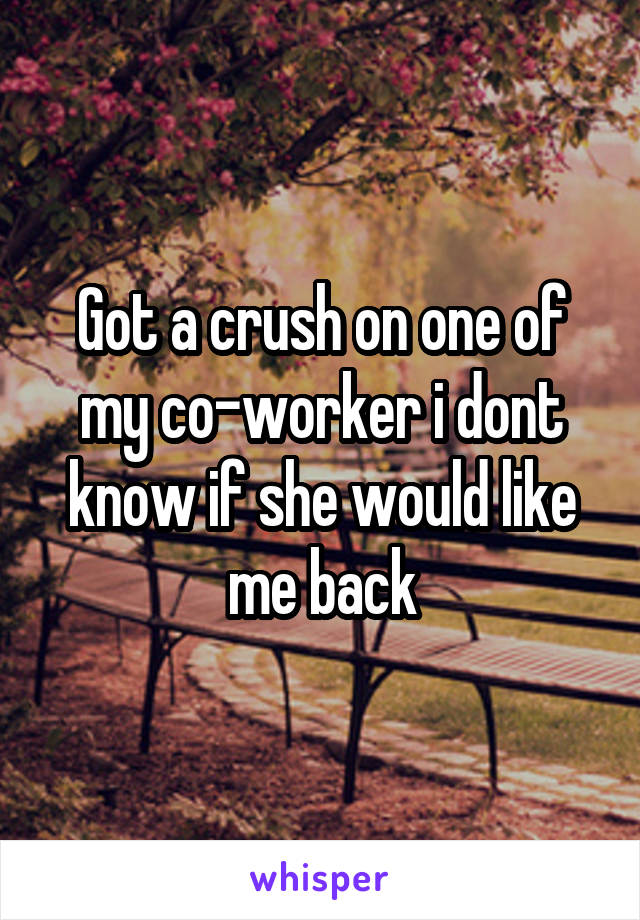 Got a crush on one of my co-worker i dont know if she would like me back