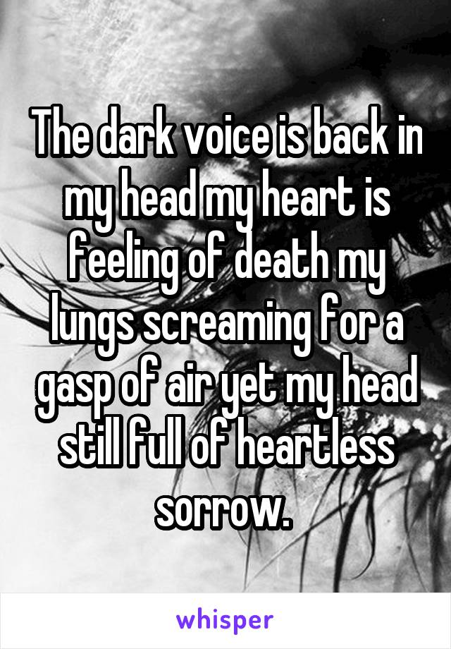 The dark voice is back in my head my heart is feeling of death my lungs screaming for a gasp of air yet my head still full of heartless sorrow.
