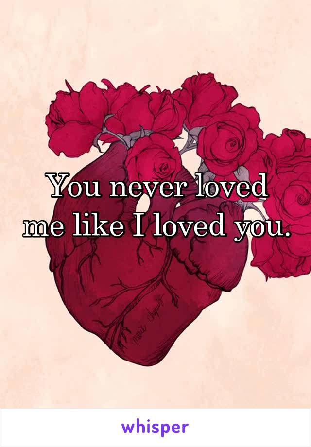 You never loved me like I loved you.