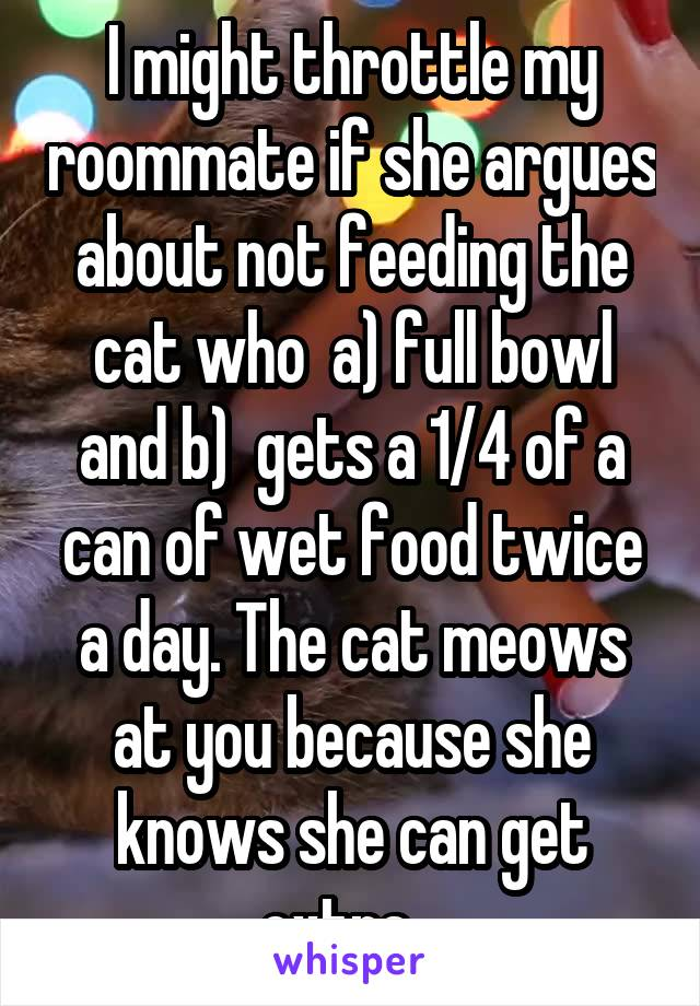 I might throttle my roommate if she argues about not feeding the cat who  a) full bowl and b)  gets a 1/4 of a can of wet food twice a day. The cat meows at you because she knows she can get extra...