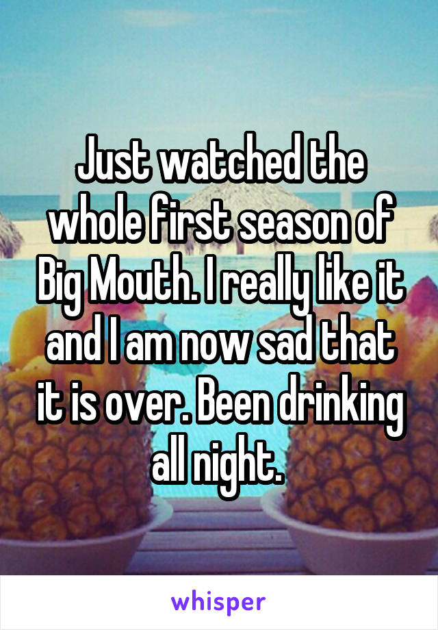 Just watched the whole first season of Big Mouth. I really like it and I am now sad that it is over. Been drinking all night.
