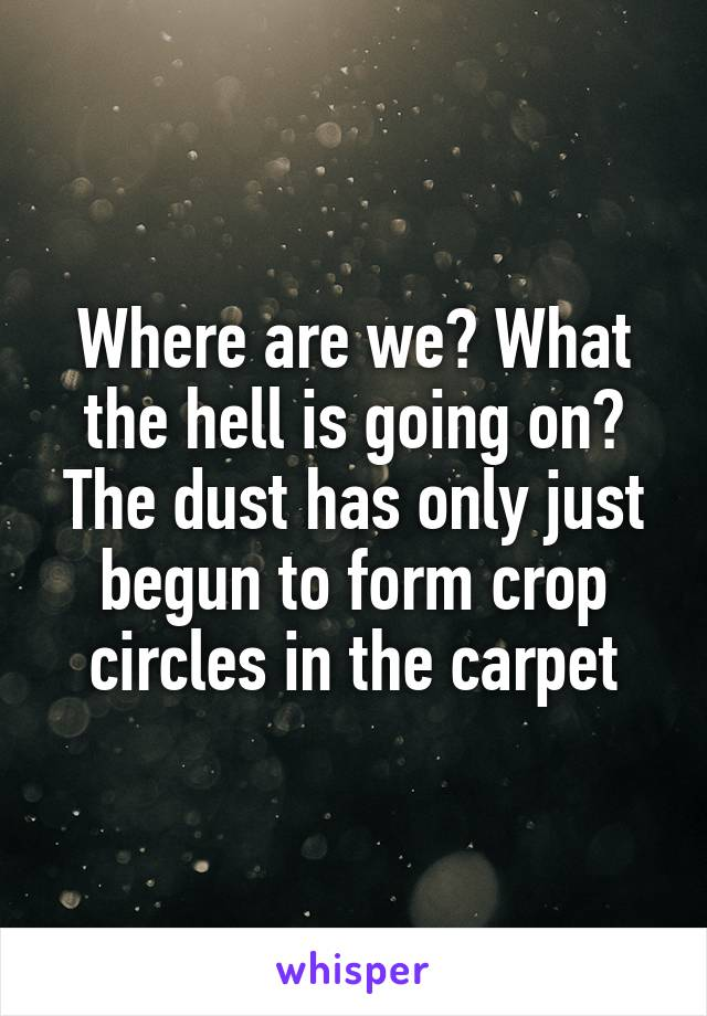 Where are we? What the hell is going on? The dust has only just begun to form crop circles in the carpet