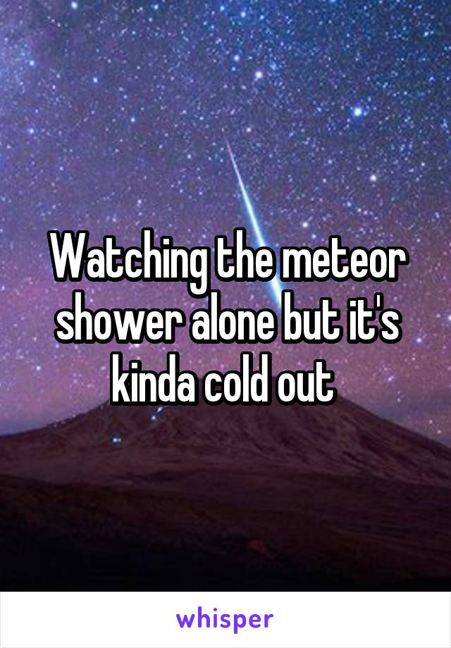 Watching the meteor shower alone but it's kinda cold out