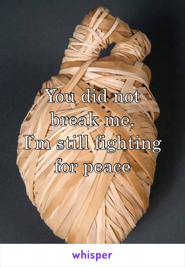 You did not break me, I'm still fighting for peace