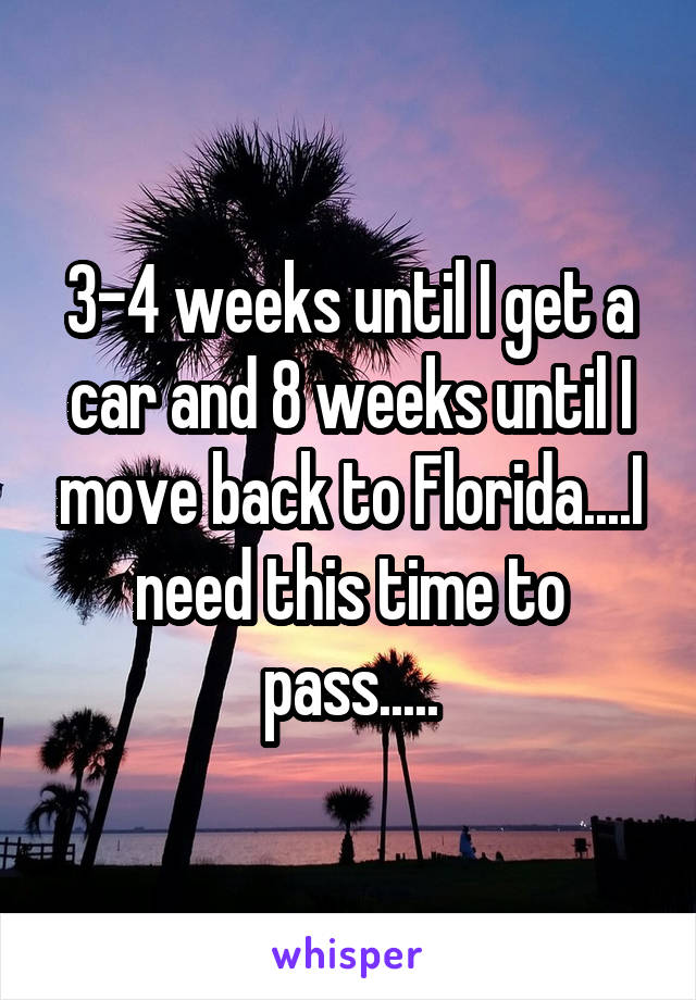 3-4 weeks until I get a car and 8 weeks until I move back to Florida....I need this time to pass.....