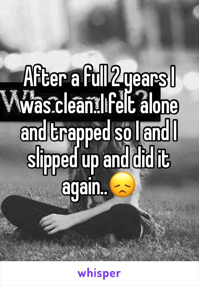 After a full 2 years I was clean..I felt alone and trapped so I and I slipped up and did it again..😞
