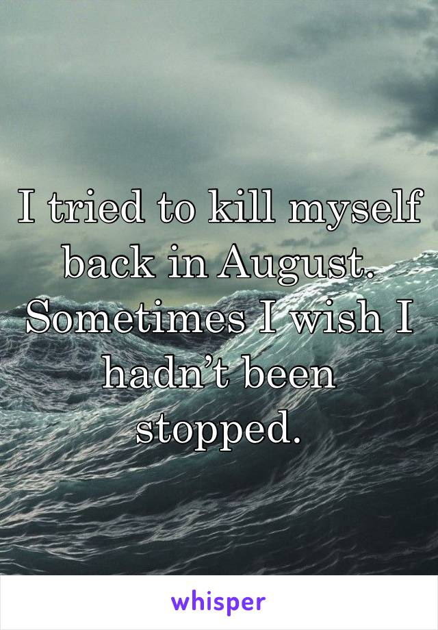 I tried to kill myself back in August. Sometimes I wish I hadn't been stopped.