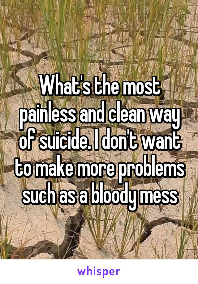 What's the most painless and clean way of suicide. I don't want to make more problems such as a bloody mess