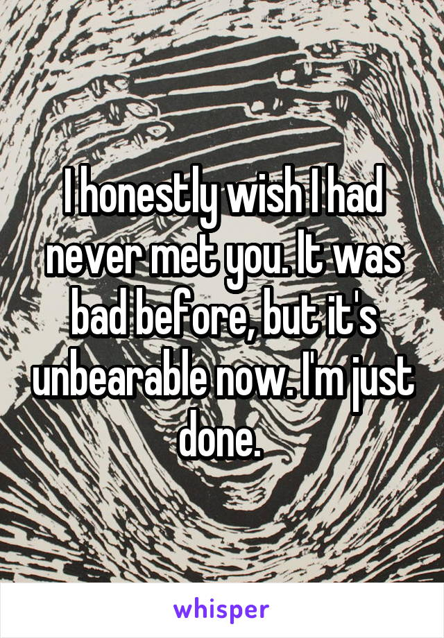 I honestly wish I had never met you. It was bad before, but it's unbearable now. I'm just done.