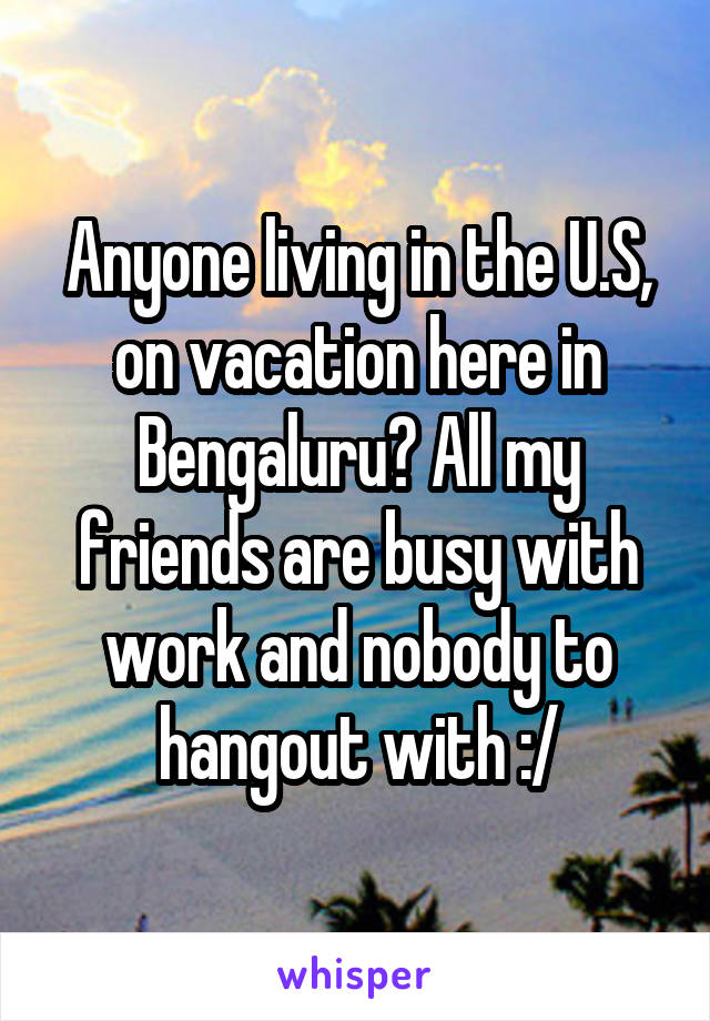 Anyone living in the U.S, on vacation here in Bengaluru? All my friends are busy with work and nobody to hangout with :/