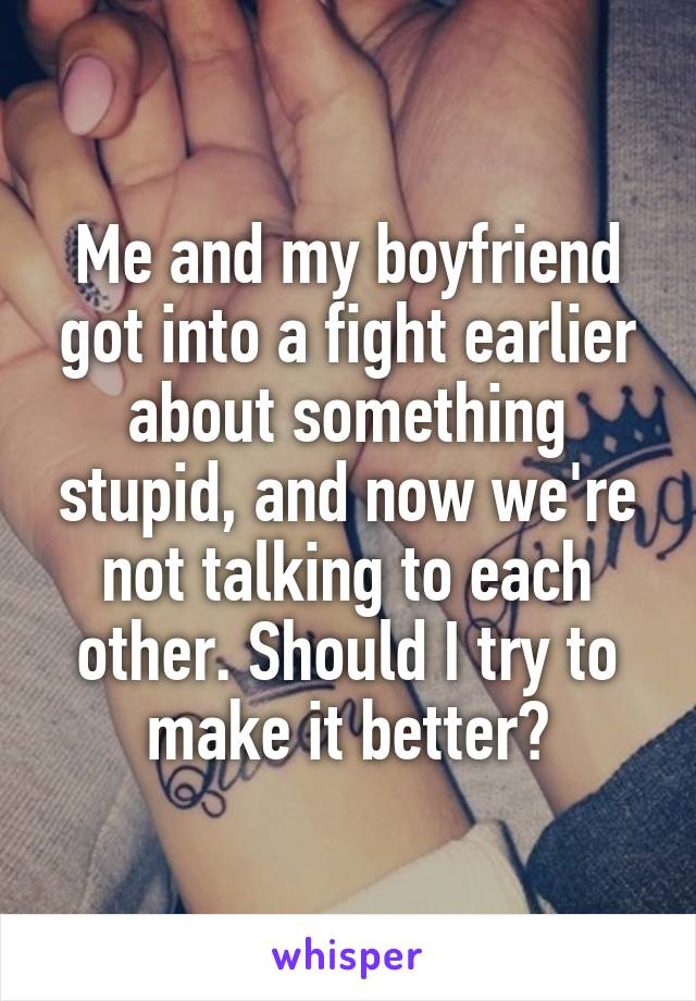 Me and my boyfriend got into a fight earlier about something stupid, and now we're not talking to each other. Should I try to make it better?