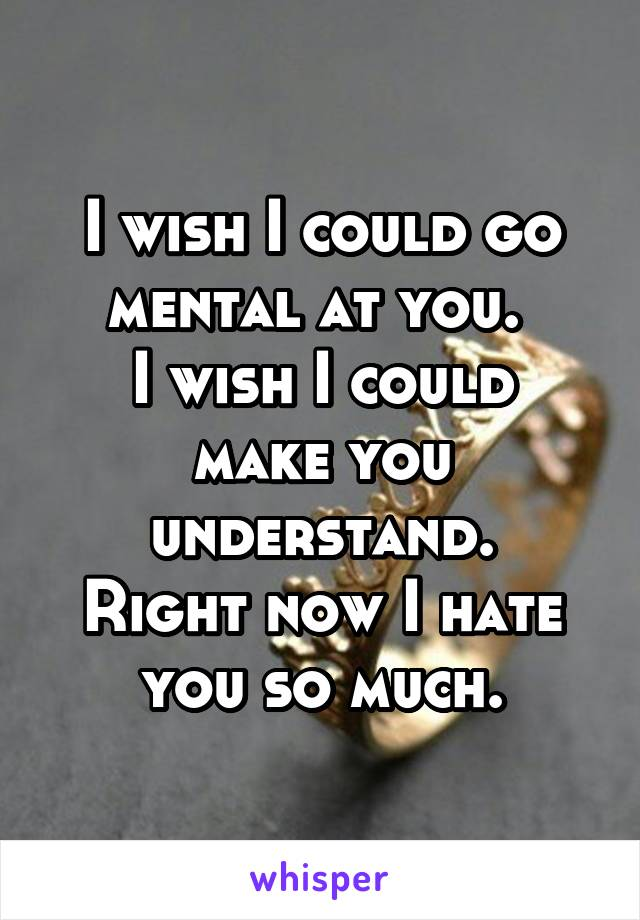 I wish I could go mental at you.  I wish I could make you understand. Right now I hate you so much.