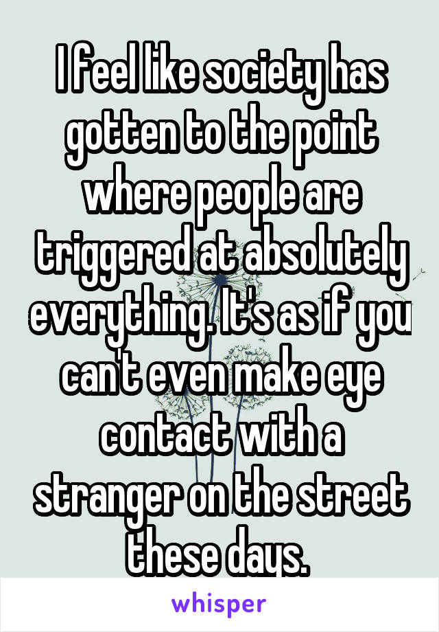 I feel like society has gotten to the point where people are triggered at absolutely everything. It's as if you can't even make eye contact with a stranger on the street these days.