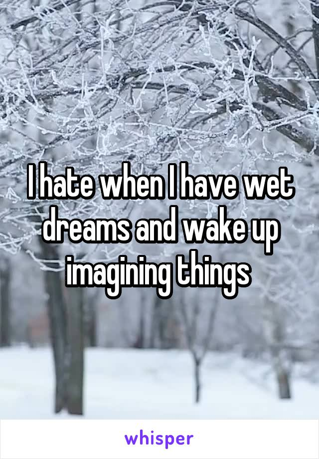 I hate when I have wet dreams and wake up imagining things