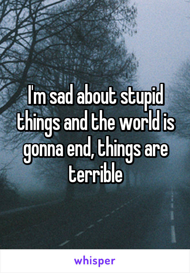 I'm sad about stupid things and the world is gonna end, things are terrible