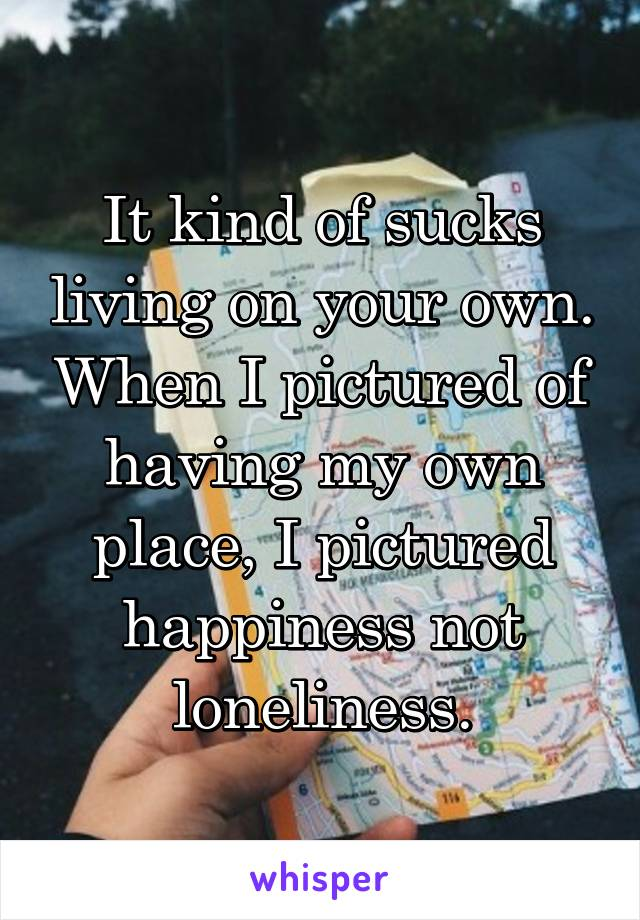 It kind of sucks living on your own. When I pictured of having my own place, I pictured happiness not loneliness.