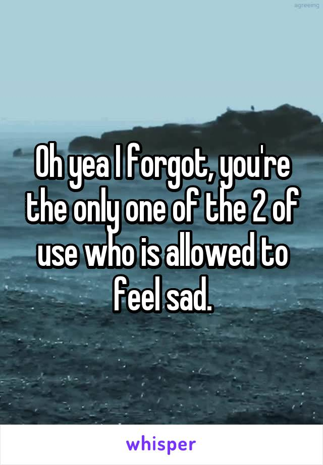 Oh yea I forgot, you're the only one of the 2 of use who is allowed to feel sad.