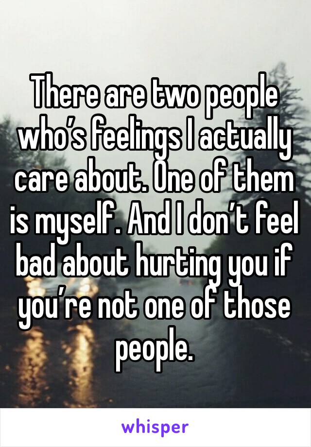 There are two people who's feelings I actually care about. One of them is myself. And I don't feel bad about hurting you if you're not one of those people.